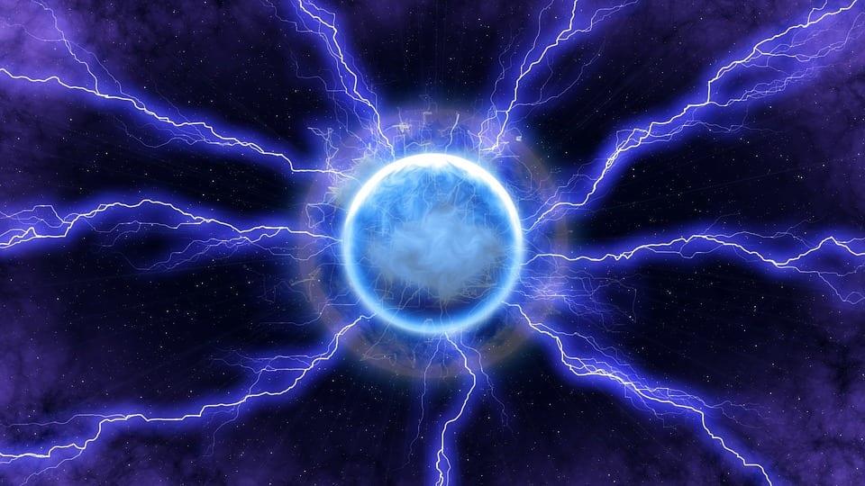 Blue Dark Space Light Energy Lightning Moon