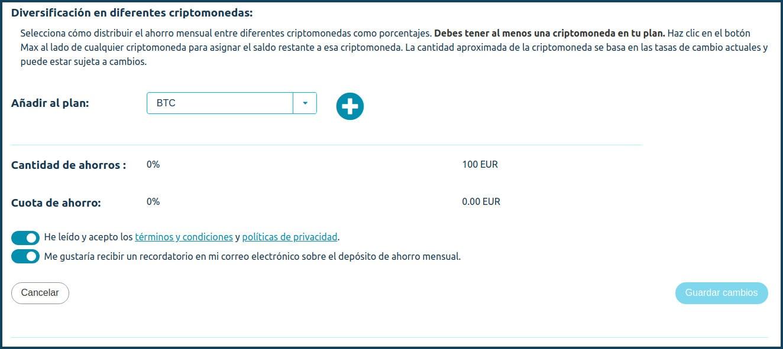 Coinmotion configura criptomonedas plan de ahorro mensual