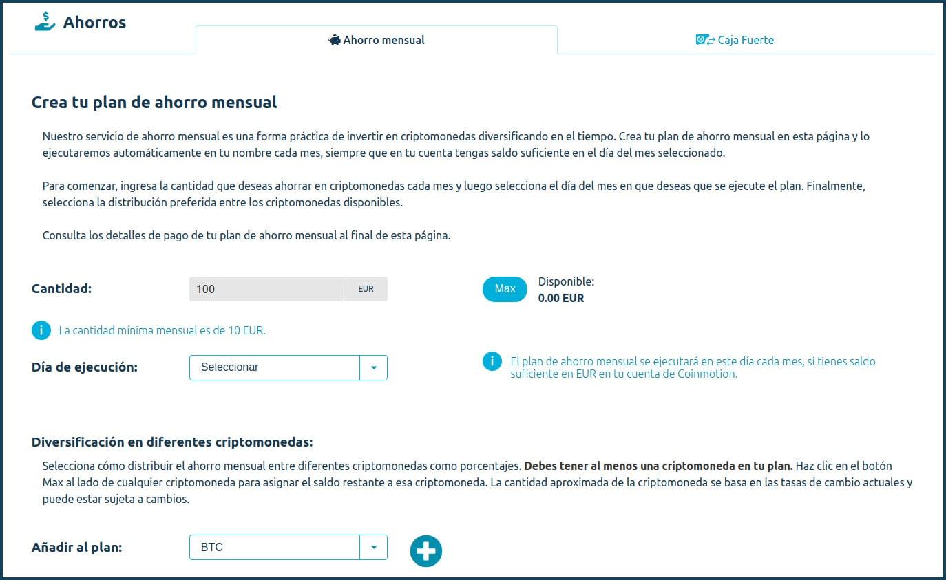 Coinmotion criptomonedas plan de ahorro mensual