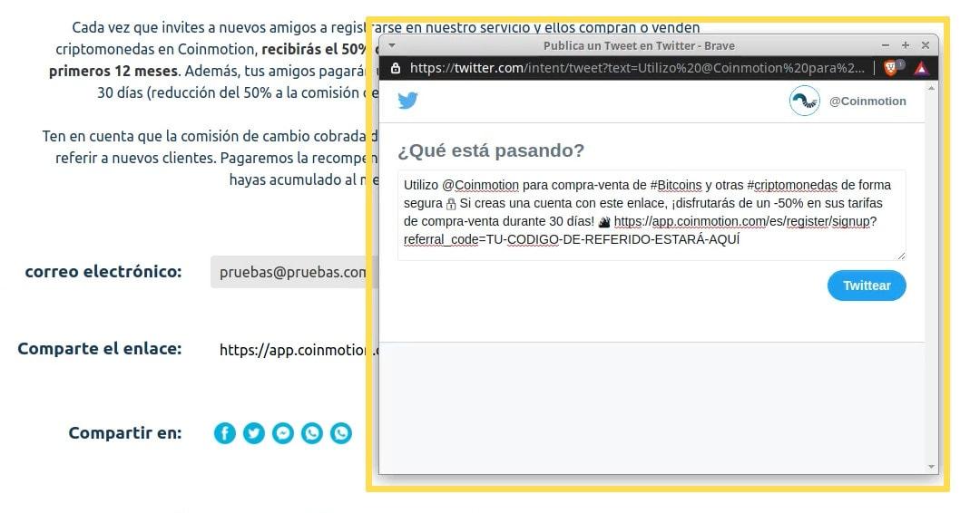 Ganar dinero con Twitter - ventana emergente