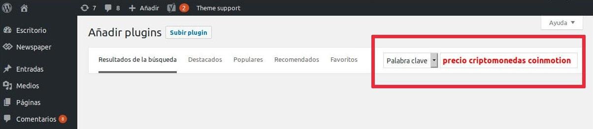 Wordpress buscador plugins para la instalación