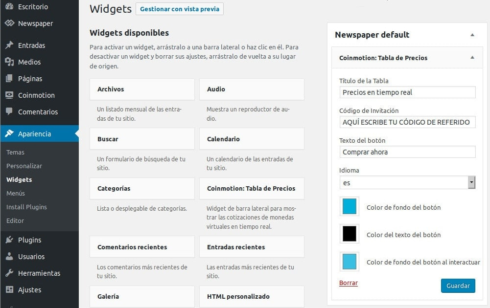 Wordpress barra lateral apariencia widget