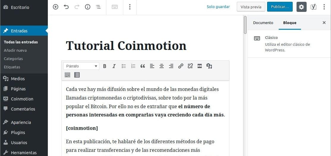 Shortcode en el editor de textos de WordPress