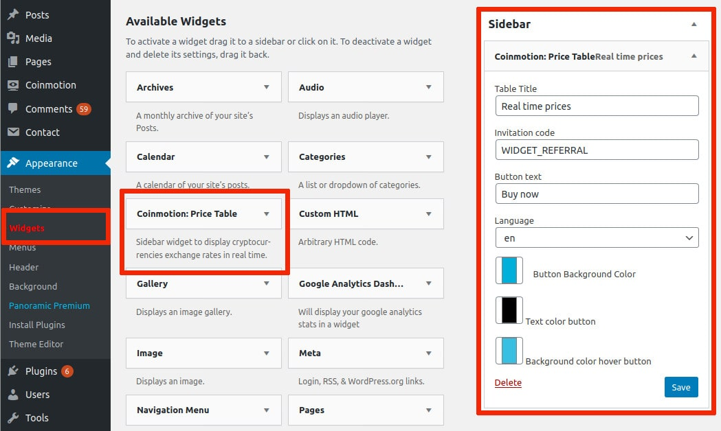 Appearance widgets sidebar configuration Coinmotion WordPress plugin