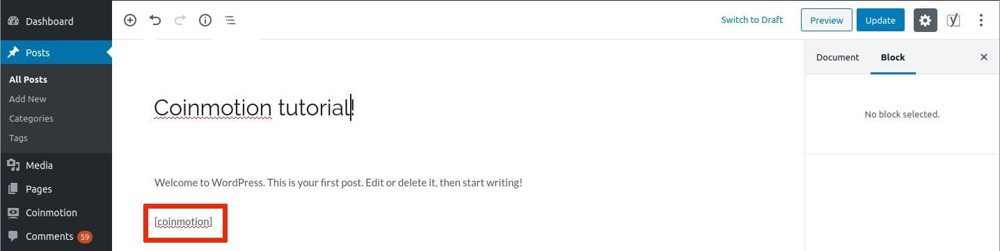 Plugin Coinmotion pour Shortcode Editor Shortcode