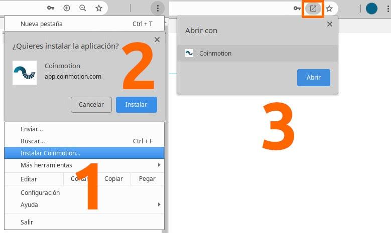 Cómo instalar PWA aplicación Google Chrome Windows Mac Coinmotion