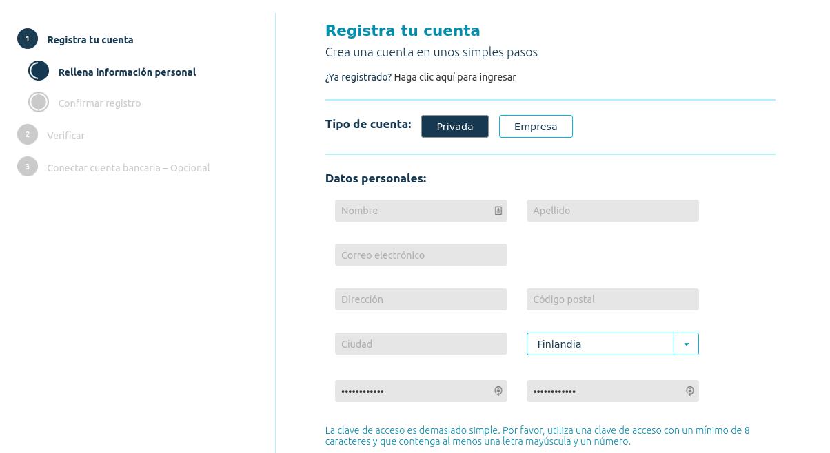 Formulario de registro en Coinmotion