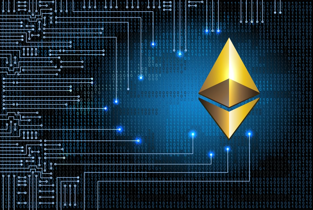 Golden ethereum coin on binary code background and electronic ci