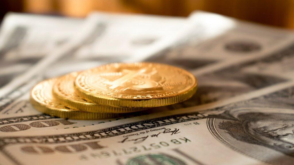 Bitcoin coins bill dollars banknote