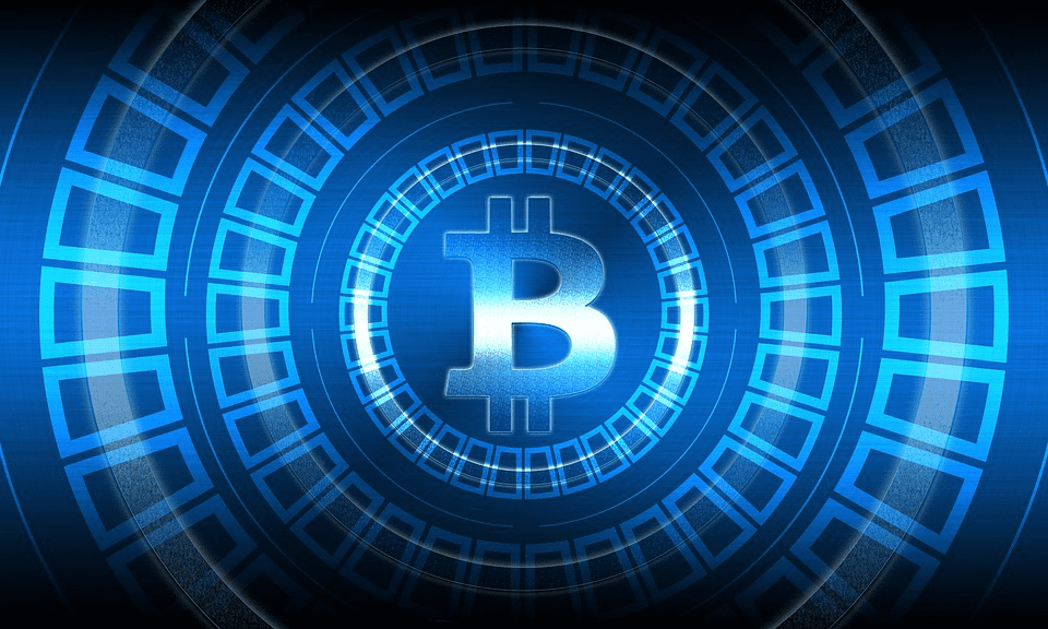 Bitcoin in blue