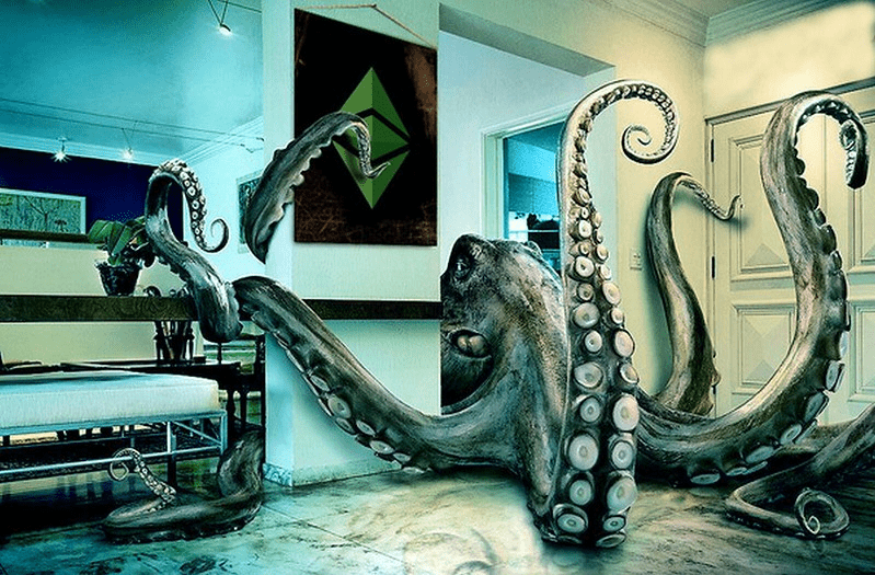 Giant octopus in a room