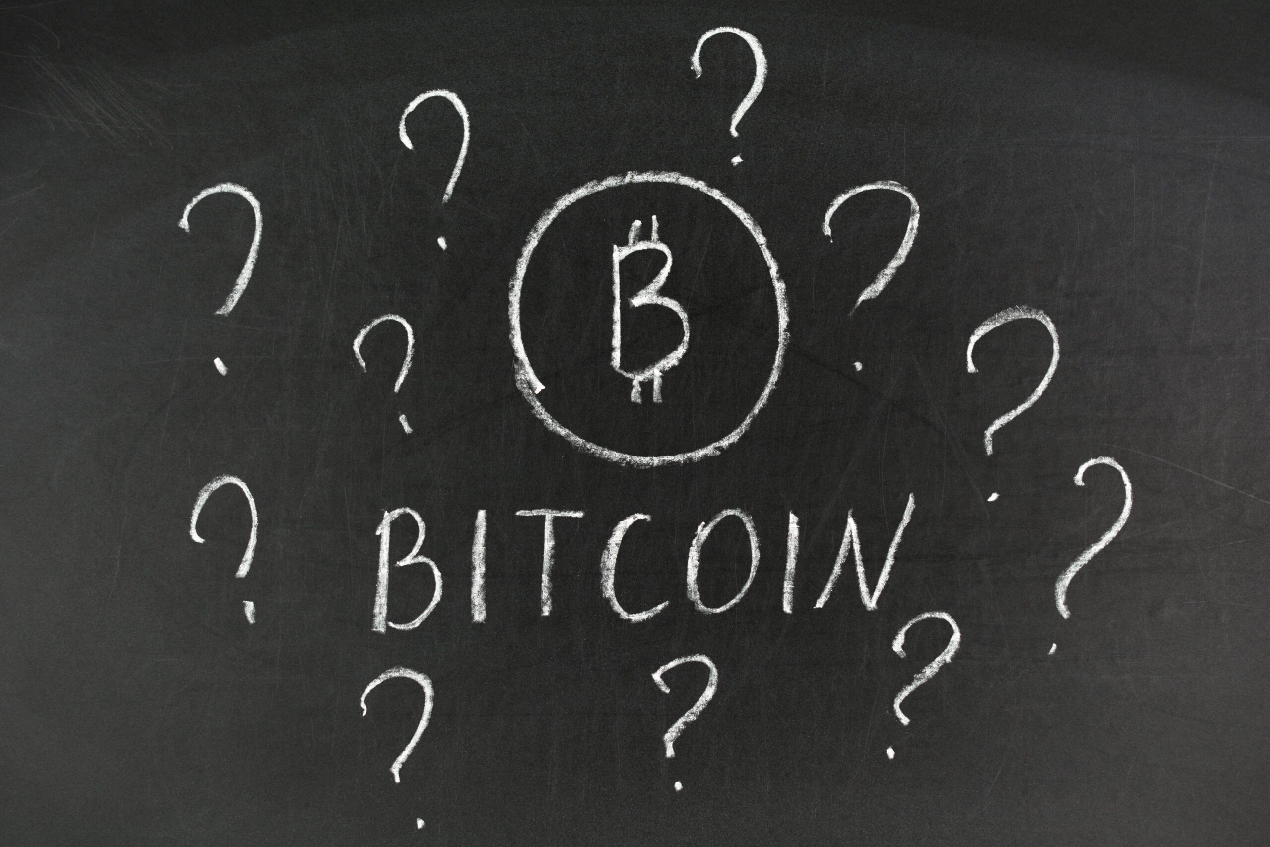 What is bitcoin, written on the blackboard with white chalk