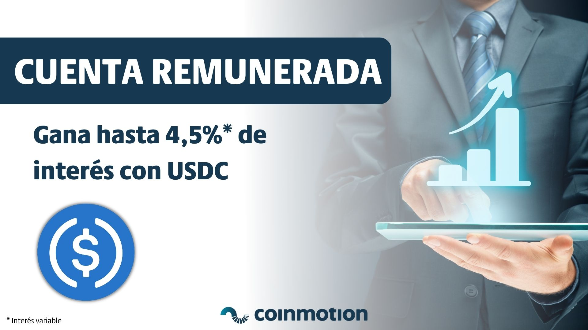 Cuenta remunerada USDC 4,5% interés anual Coinmotion