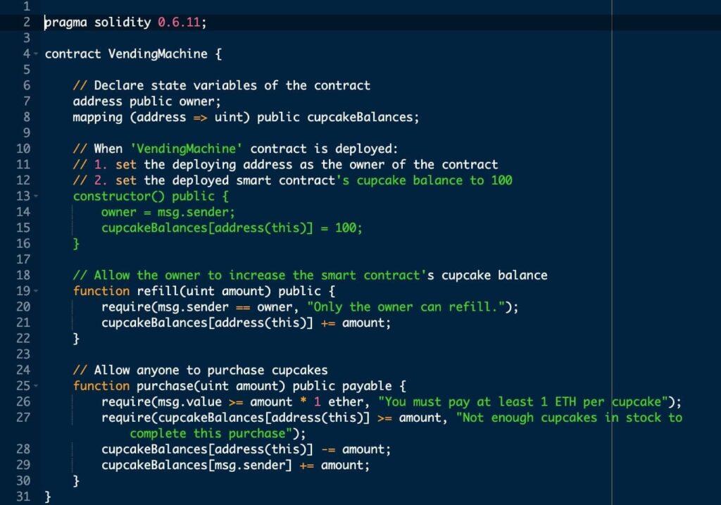 sample smart contract code