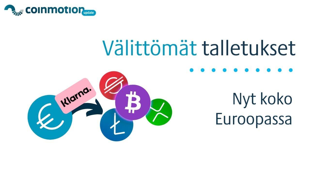 välittömät-talletukset-euroopassa-coinmotion-klarna-talletus