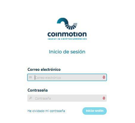 Iniciar sesión en Coinmotion