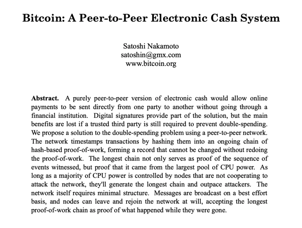 The opening paragraph of the Bitcoin whitepaper